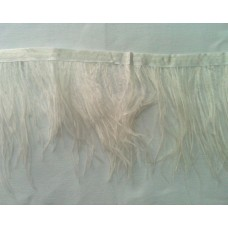 Fringe with feathers - white