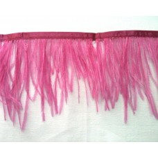 Fringe with feathers - pink