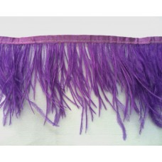 Fringe with feathers - purple