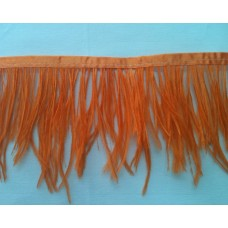 Fringe with feathers - orange