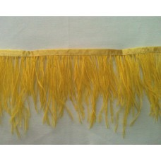 Fringe with feathers - yellow