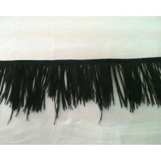 Fringe with feathers - black