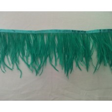 Fringe with feathers - dark turquoise