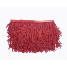 Fringes with beads 10 cm - red
